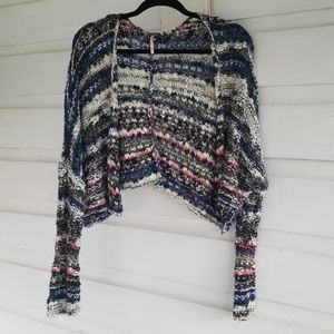 Free People| Multi Colored Cropped Cardigan Size M